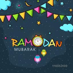 Colorful bunting and stars decorated greeting card with illustration of a clock showing Sahri time for Islamic holy month, Ramadan Kareem celebration.