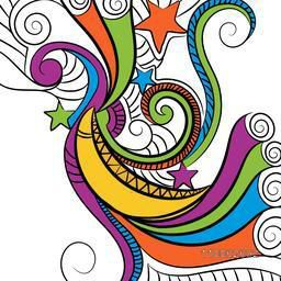 Colorful floral design with crescent moon and stars for holy month of muslim community, Ramadan Kareem celebration.