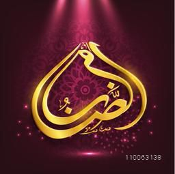 Golden Arabic Islamic calligraphy of text Ramadan Kareem in spot light on beautiful artistic floral decorated background for holy month of Muslim community, Ramadan Kareem celebration.