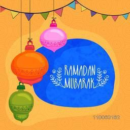 Colorful hanging lanterns with bunting decoration on seamless yellow background for Islamic holy month of prayers, Ramadan Mubarak celebration.