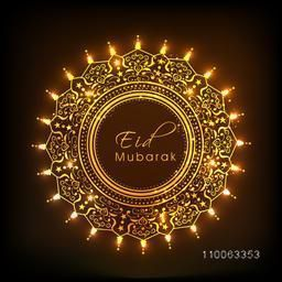 Golden rounded frame decorated with beautiful artistic floral design on brown background for Islamic festival, Eid Mubarak celebration.