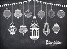 Set of different traditional Arabic lanterns with bunting decoration on chalkboard background for Islamic holy month of prayers, Ramadan Kareem celebration.
