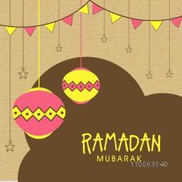 Elegant greeting card design decorated with shiny hanging lanterns, stars and bunting decorations for Islamic holy month of prayers, Ramadan Kareem celebration.