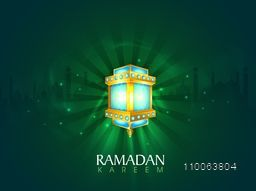 Glossy illuminated arabic lamp or lantern on green shiny mosque silhouette background for islamic holy month of prayer celebration.