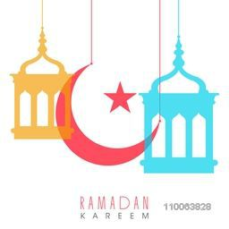Holy month of muslim community, Ramadan Kareem celebration with colorful arabic lamps, moon and stars.
