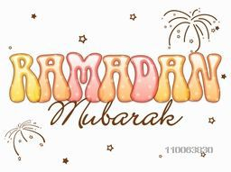 Colorful glossy text Ramadan Mubarak on creative stars and fireworks background for islamic holy month of prayer celebration.