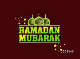 Shiny stylish text Ramadan Mubarak with mosque on brown stars decorated brown background for islamic holy month of prayer celebration.