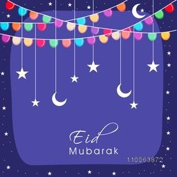 Colorful lights, moon and stars decorated beautiful greeting card design for muslim community festival, Eid Mubarak celebration.