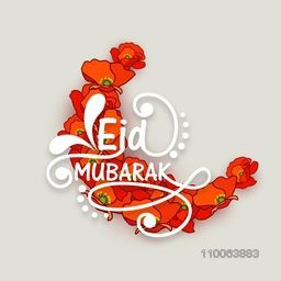 Stylish text Eid Mubarak with crescent moon made by creative flowers for muslim community festival celebration.