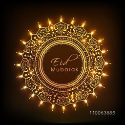 Floral decorated beautiful golden frame with glowing lights on shiny brown background for muslim community festival, Eid Mubarak celebration