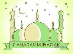 Holy month of muslim community, Ramadan Kareem celebration with illustration of islamic mosque on stars and moon decorated background.