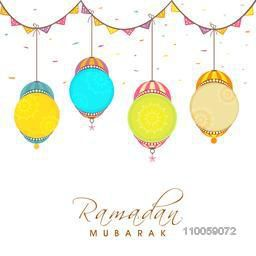 Holy month of muslim community, Ramadan Kareem celebration greeting card decorated by colorful arabic lamps and bunting.