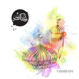 Illustration of islamic mosque with colorful splash and arabic calligraphy text Ramazan Kareem for holy month of muslim community, Ramadan Kareem celebration.