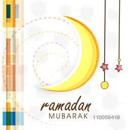 Elegant greeting or invitation card with crescent moon and stars for holy month of Muslim community Ramadan Kareem celebration.