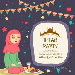 Islamic holy month, Ramadan Kareem Iftar Party celebration with illustration of a Muslim lady on colorful stars decorated background.
