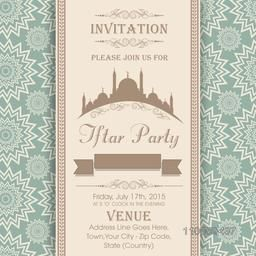 Holy month of Muslim community, Ramadan Kareem Iftar Party celebration invitation card with Mosque, party date, place and time details.
