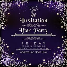 Beautiful floral design decorated shiny invitation card for holy month of Muslim community, Ramadan Kareem Iftar Party celebration.