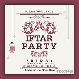 Beautiful floral design decorated invitation card for holy month of Muslim community, Ramadan Kareem Iftar Party celebration.