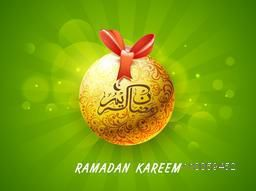 Beautiful floral design decorated glossy golden ball with Arabic Islamic calligraphy of text Ramazan Kareem (Ramadan Kareem) on shiny green background.