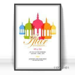 Holy month of Muslim community, Ramadan Kareem Iftar Party celebration invitation card decorated with colorful Mosque.