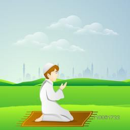 Holy month of muslim community, Ramadan Kareem celebration with illustration of islamic boy in traditional outfit reading Namaaz, islamic prayer in front of mosque or masjid.