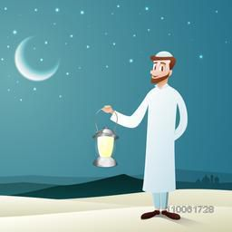Illustration of islamic man in traditional outfit, holding a illuminated lantern or lamp on night background for holy month of muslim community, Ramadan Kareem celebration.