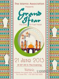 Grand Iftar party celebration invitation card design decorated with mosque, hanging lanterns and artistic floral pattern.