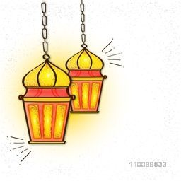 Traditional hanging Lamps with floral design decoration for Muslim Community Festivals celebration concept.