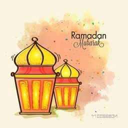 Creative traditional Lamps on abstract background for Holy Month of Muslim Community, Ramadan Mubarak.