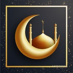 3D Golden Crescent Moon with Glossy Mosque. Creative illustration for Muslim Community Festivals celebration.