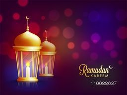 Glossy illuminated Lamps on abstract background for Holy Month of Muslim Community, Ramadan Kareem celebration.