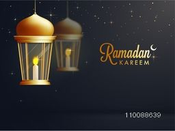 Glowing illuminated hanging Lamp for Islamic Holy Month, Ramadan Kareem celebration.