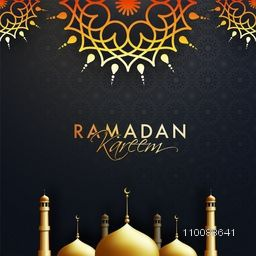 Glowing Golden Mosque on floral design decorated background for Islamic Holy Month of Prayers, Ramadan Kareem celebration.