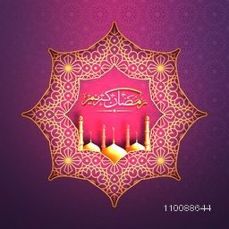 Creative traditional floral design decorated Frame with Glowing Mosque and Arabic Islamic Calligraphy of text Ramadan Kareem.