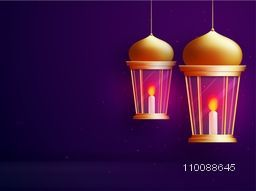 Glowing illuminated Lamps or Lanterns for Islamic Festivals celebration.