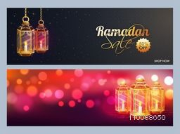 Sale and Discount website header or banner set decorated with traditional lamps for Islamic Holy Month, Ramadan Kareem celebration.