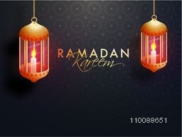 Traditional illuminated Lamps hanging on seamless floral pattern background for Islamic Holy Month, Ramadan Kareem celebration.