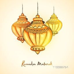 Creative traditional Lamps for Holy Month of Muslim Community, Ramadan Mubarak celebration.