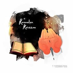 Ramadan Kareem celebration abstract background with illustration of praying human hand in front of Holy Quran Shareef.