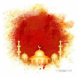 Golden Mosque on abstract background for Muslim Community Festivals celebrations.