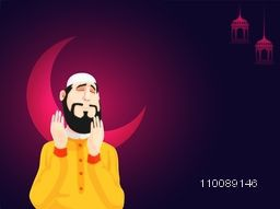 Religious Muslim Man offering Namaz in night, Creative illustration for Muslim Community Festivals celebration.