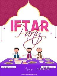 Ramadan Kareem, Iftar Party celebration Invitation Card design with illustration of Muslim Men enjoying delicious food.