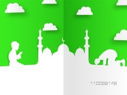 Creative paper cut design of Mosque with Praying People on cloudy green background for Muslim Community Festivals celebration.