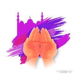 Praying Human Hand in front of Mosque, Creative abstract brush stroke background for Muslim Community Festivals celebration.