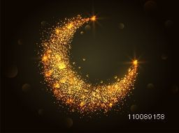 Sparkling Golden Crescent Moon for Muslim Community Festivals celebration.