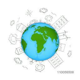 Earth Day concept with view of urban city on shiny globe.