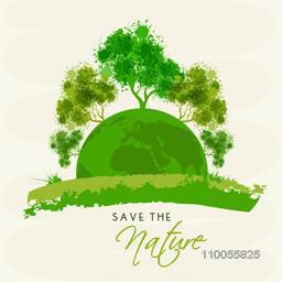 Trees with green splash and earth globe for Save the Nature concept on white background.