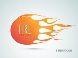 Stylish sticker, tag or label of fire flame on gradient background.