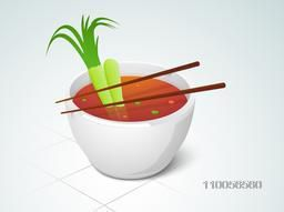 Hot healthy soup bowl with chop stick on stylish background.