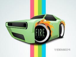 Stylish car wheels with fire flame on colorful paper stripes.